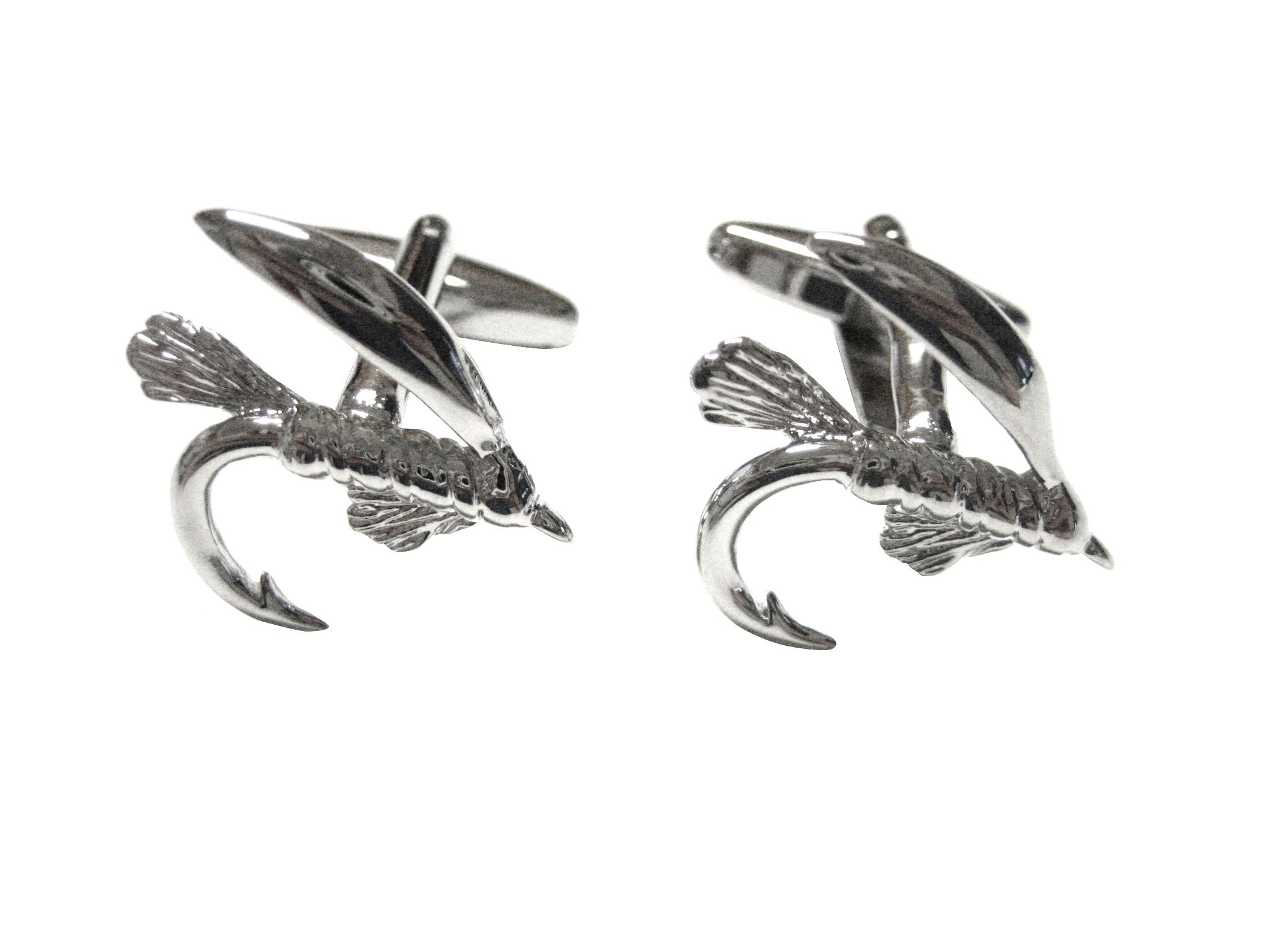 Silver Toned Fishing Fly Fisherman Cufflinks