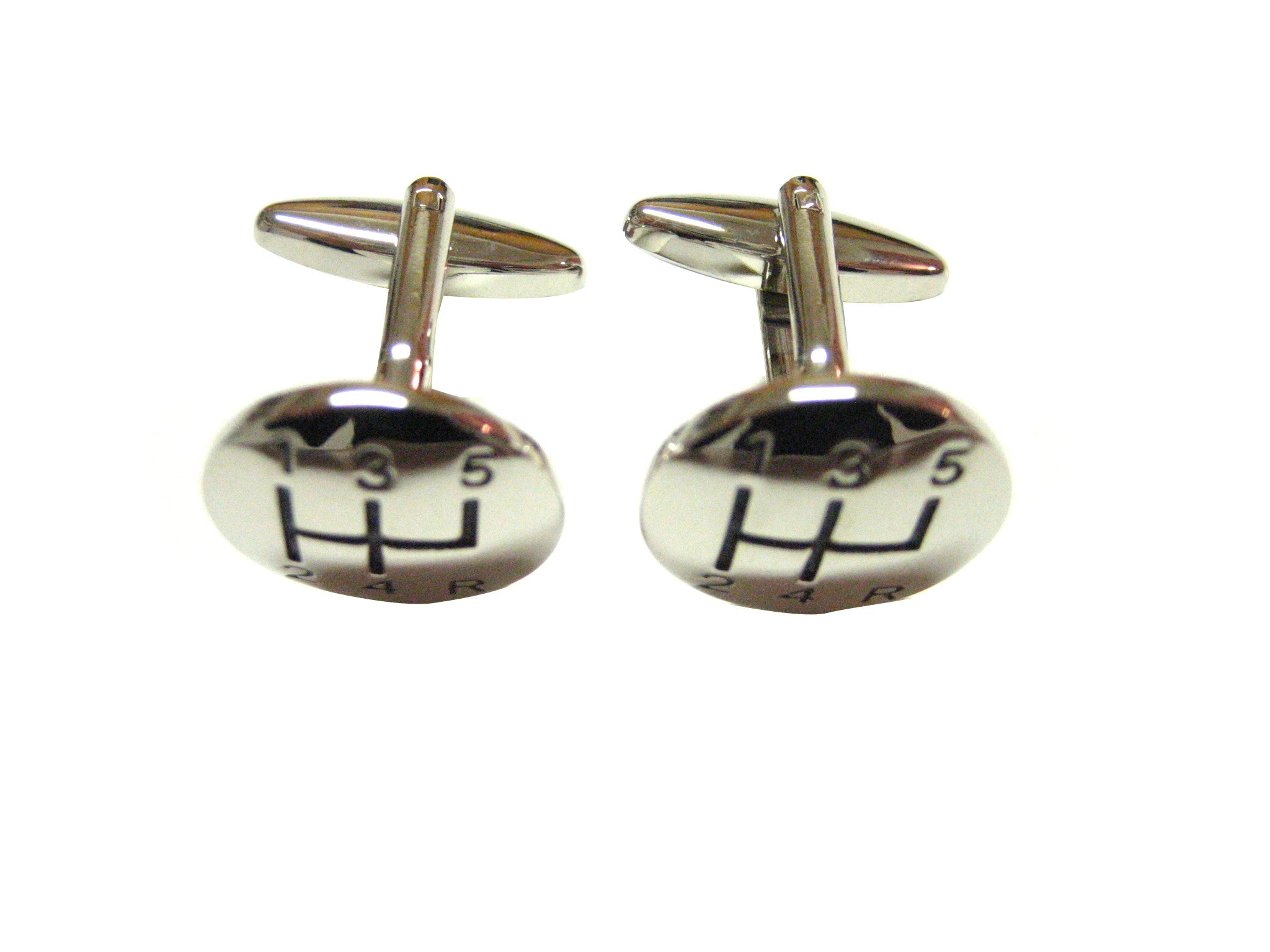 Silver Toned Gear Shift Cufflinks