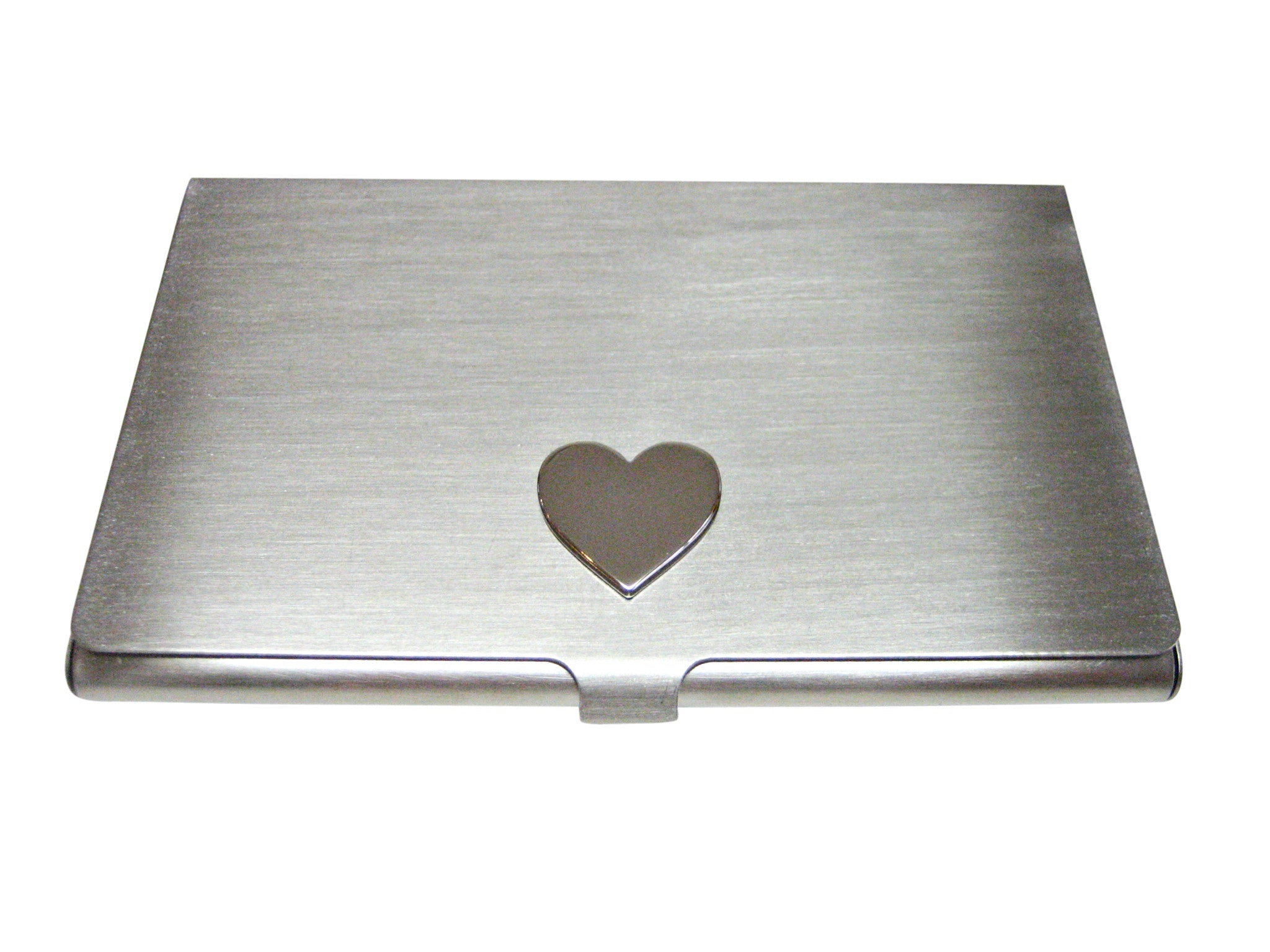 Silver Toned Heart Love Wedding Business Card Holder