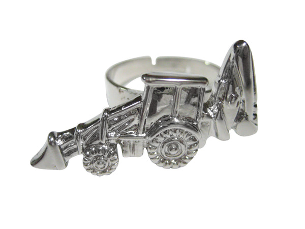 Silver Toned Heavy Machinery Excavator Digger Machine Adjustable Size Fashion Ring