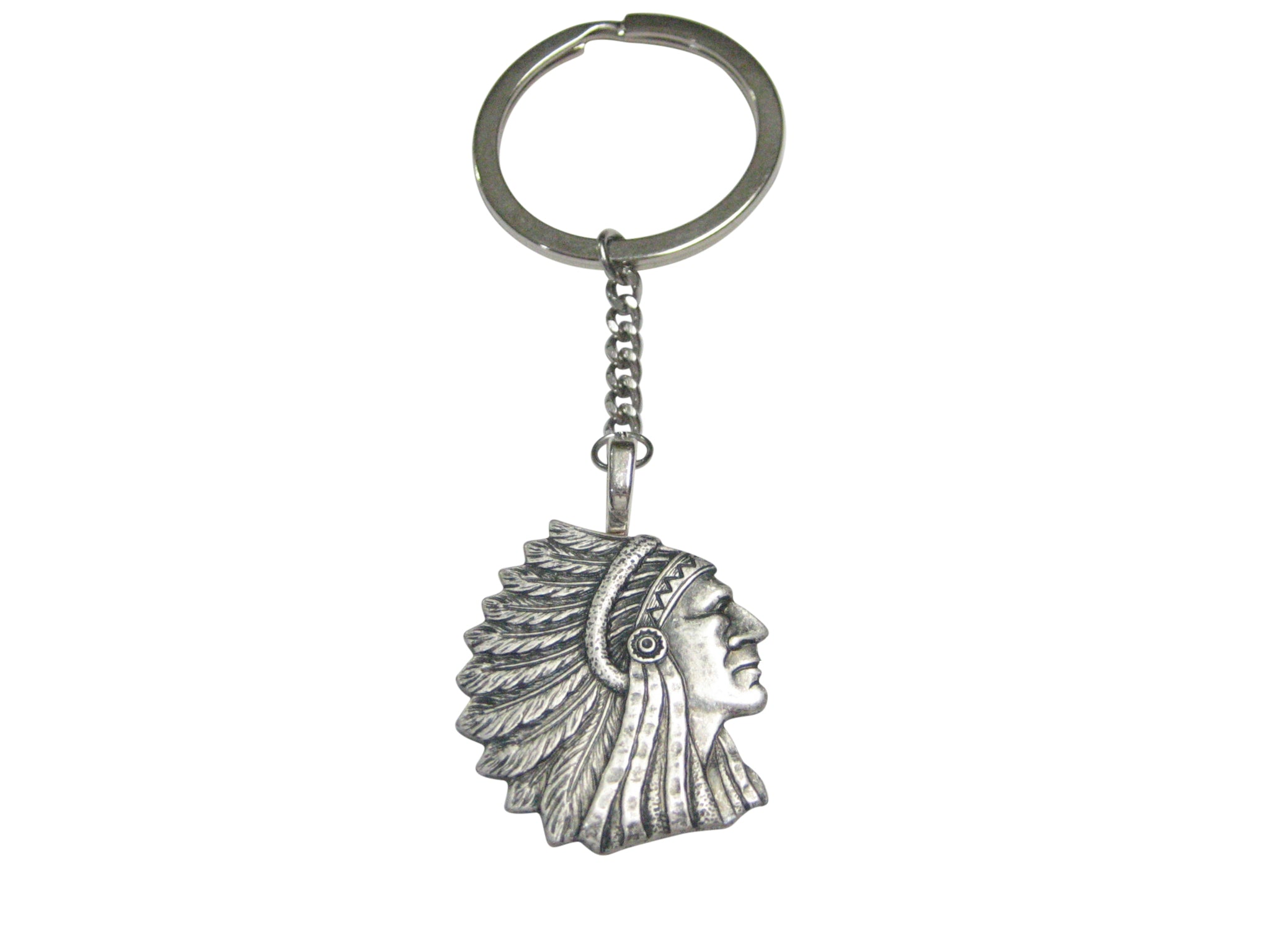 Silver Toned Indian Chief Head Pendant Keychain