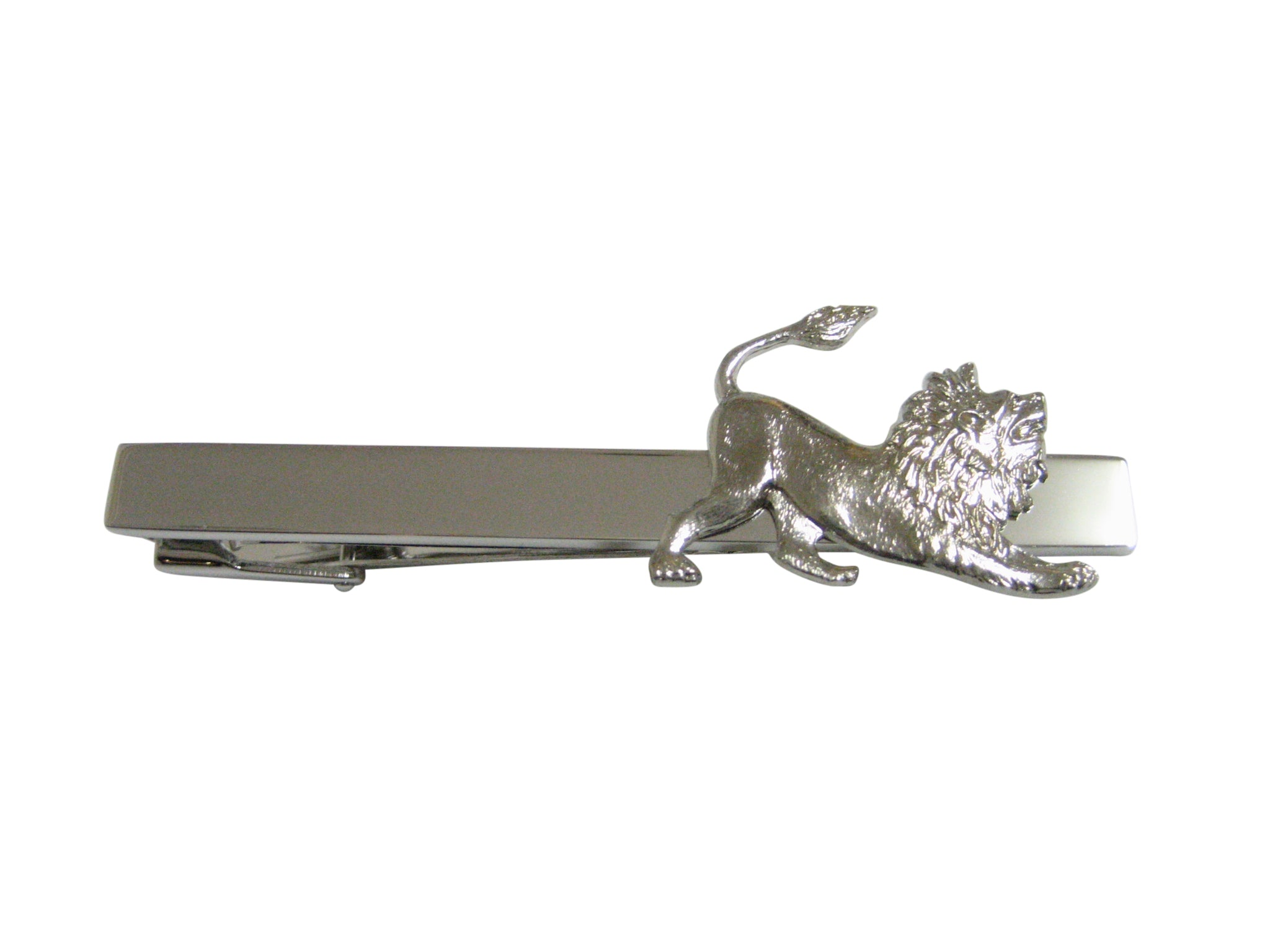 Silver Toned Lion Square Tie Clip