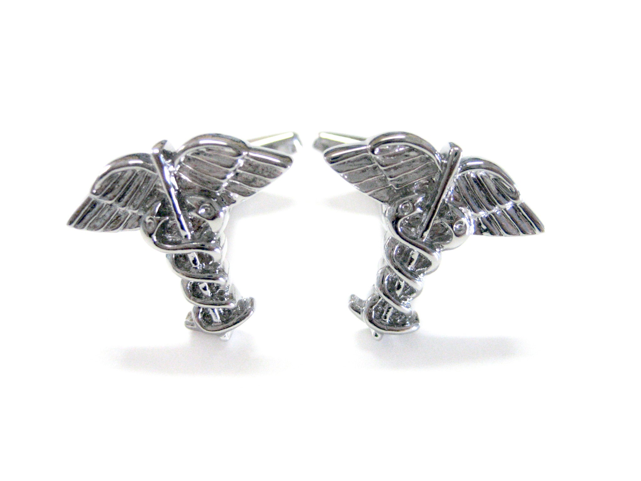 Caduceus Silver Toned Medical Symbol Cufflinks