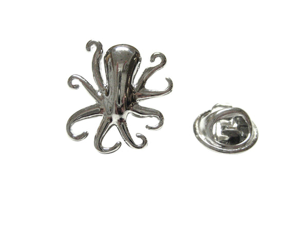 Silver Toned Octopus Lapel Pin
