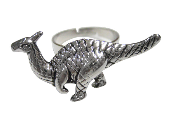 Silver Toned Parasaurolophus Dinosaur Adjustable Size Fashion Ring