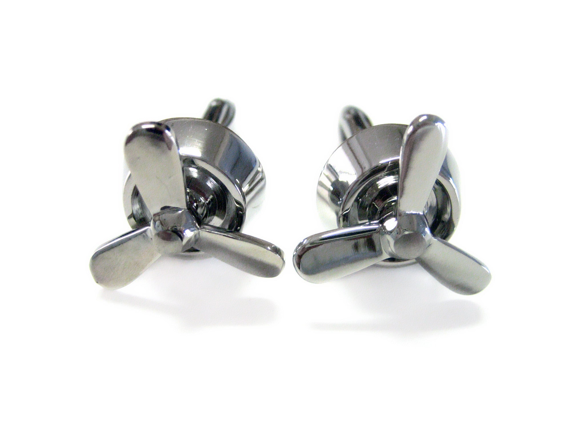 Silver Toned Propellor Cufflinks
