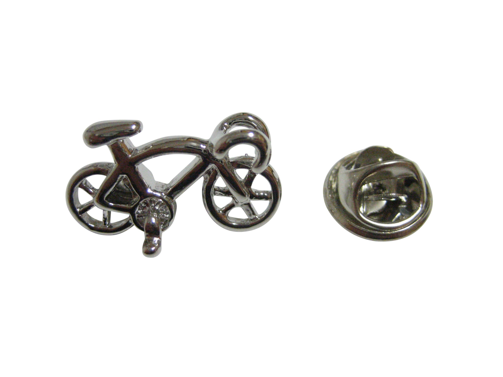 Silver Toned Racing Bicycle Lapel Pin