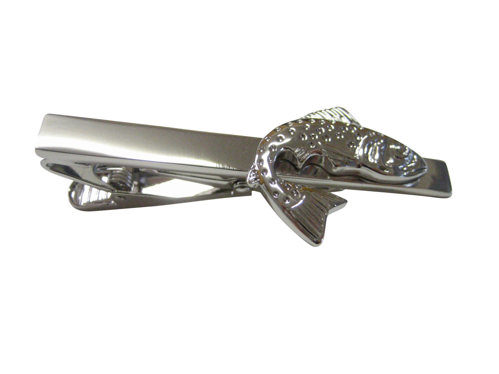 Silver Toned Salmon Tie Clips