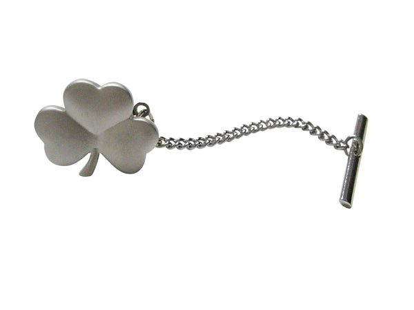 Silver Toned Shamrock Clover Pendant Tie Tack