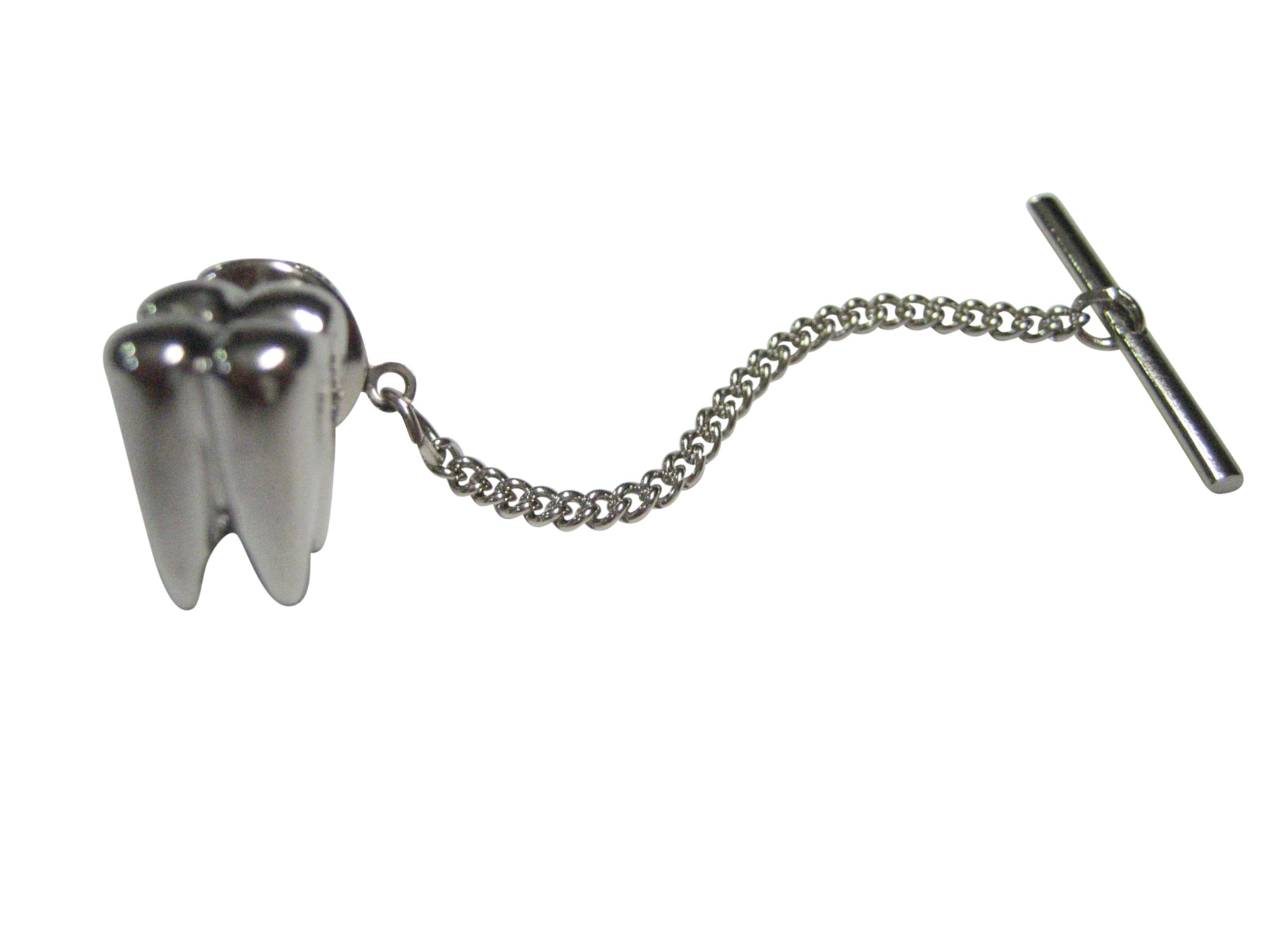 Silver Toned Shiny Dental Tooth Teeth Tie Tack