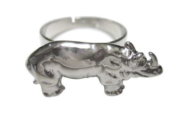Silver Toned Shiny Textured Rhino Adjustable Size Fashion Ring