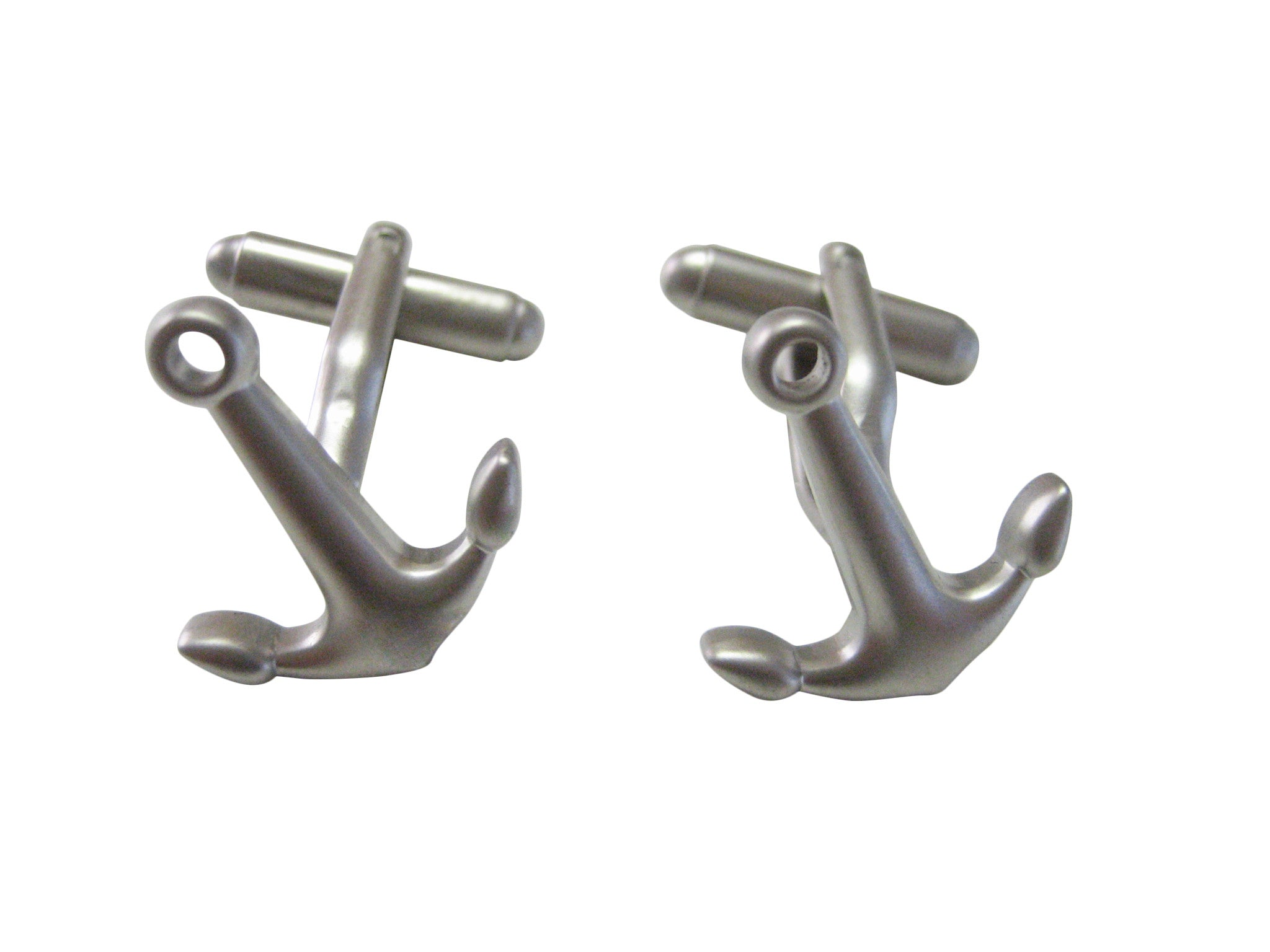 Silver Toned Smooth Angled Nautical Anchor Cufflinks