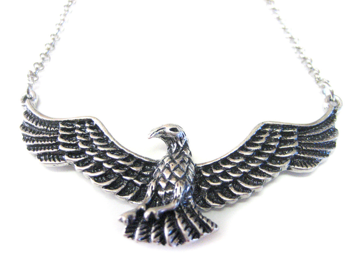 Silver Toned Soaring Bird Necklace