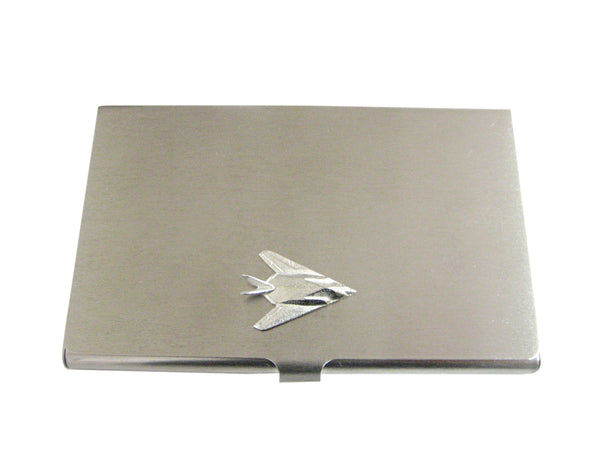 Silver Toned Stealth Fighter Plane Business Card Holder