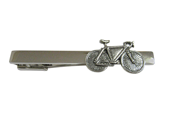 Silver Toned Textured Bicycle Square Tie Clip