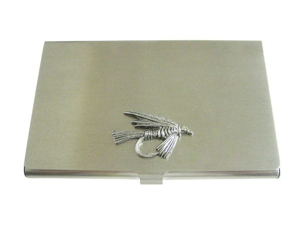 Silver Toned Textured Fishing Fly Business Card Holder