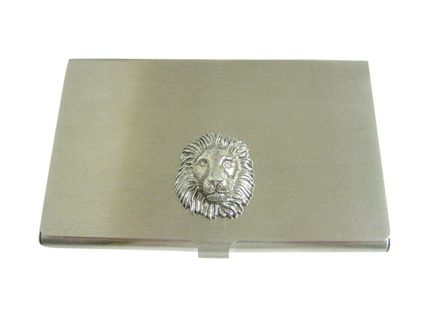 Silver Toned Textured Lion Head Business Card Holder