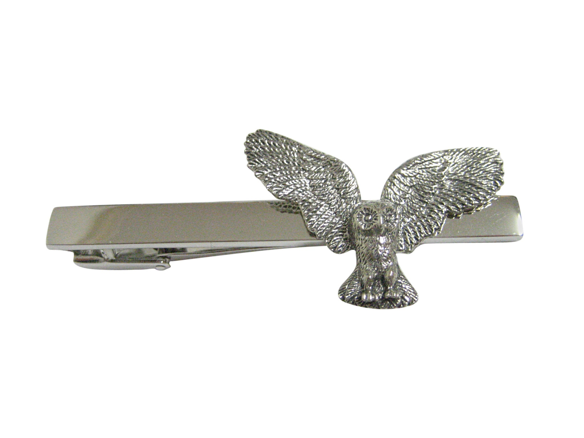 Silver Toned Textured Owl Bird Square Tie Clip