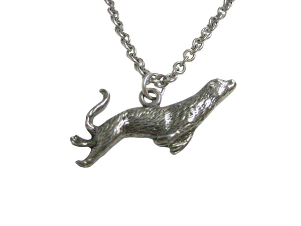 Silver Toned Textured Sea Lion Pendant Necklace