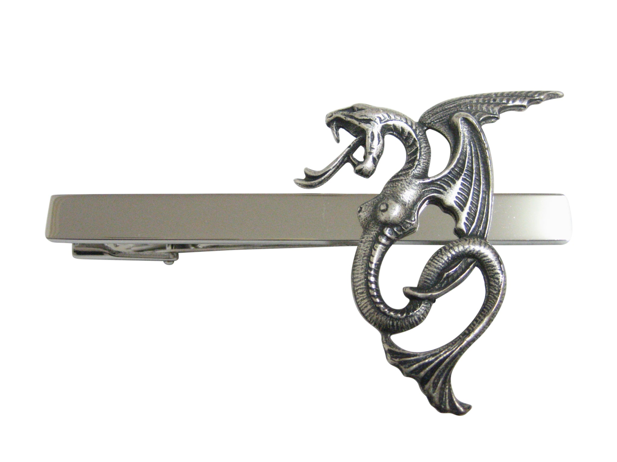 Silver Toned Textured Serpent Pendant Square Tie Clip