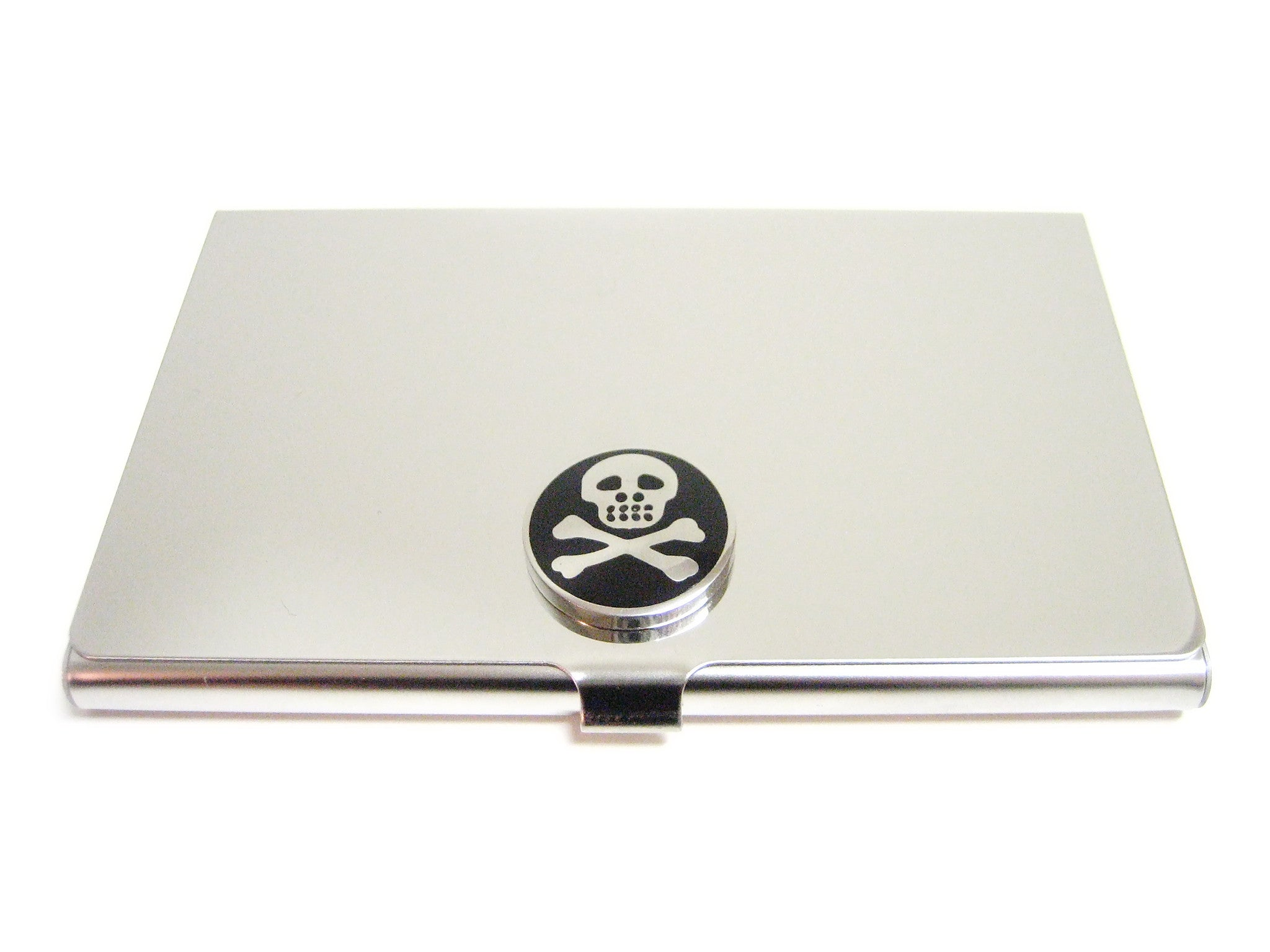 Business Card Holder with Skull Pendant