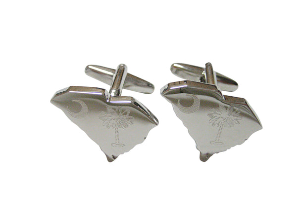 South Carolina State Map Shape and Flag Design Cufflinks