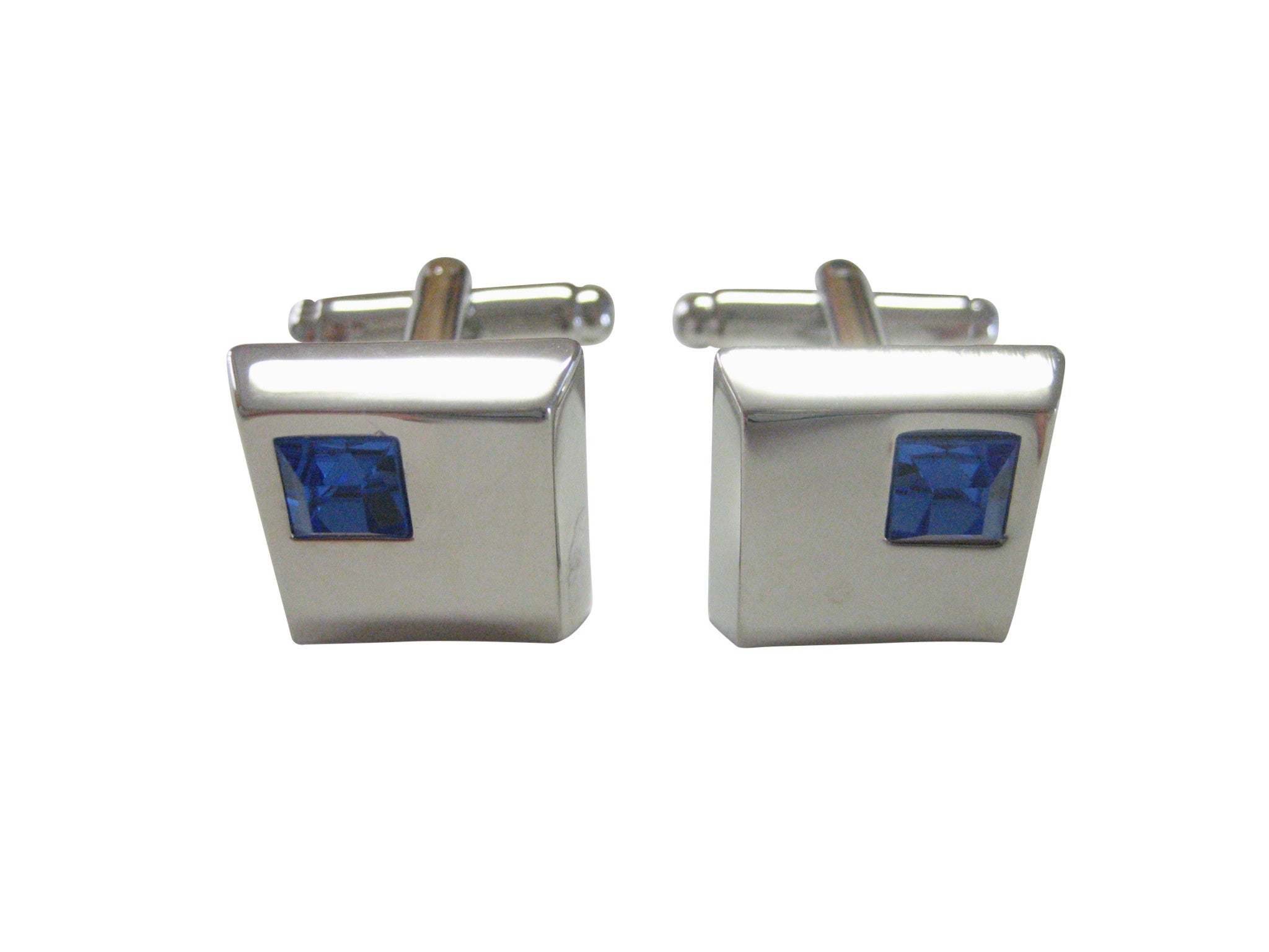 Square Cufflinks with Blue Crystal