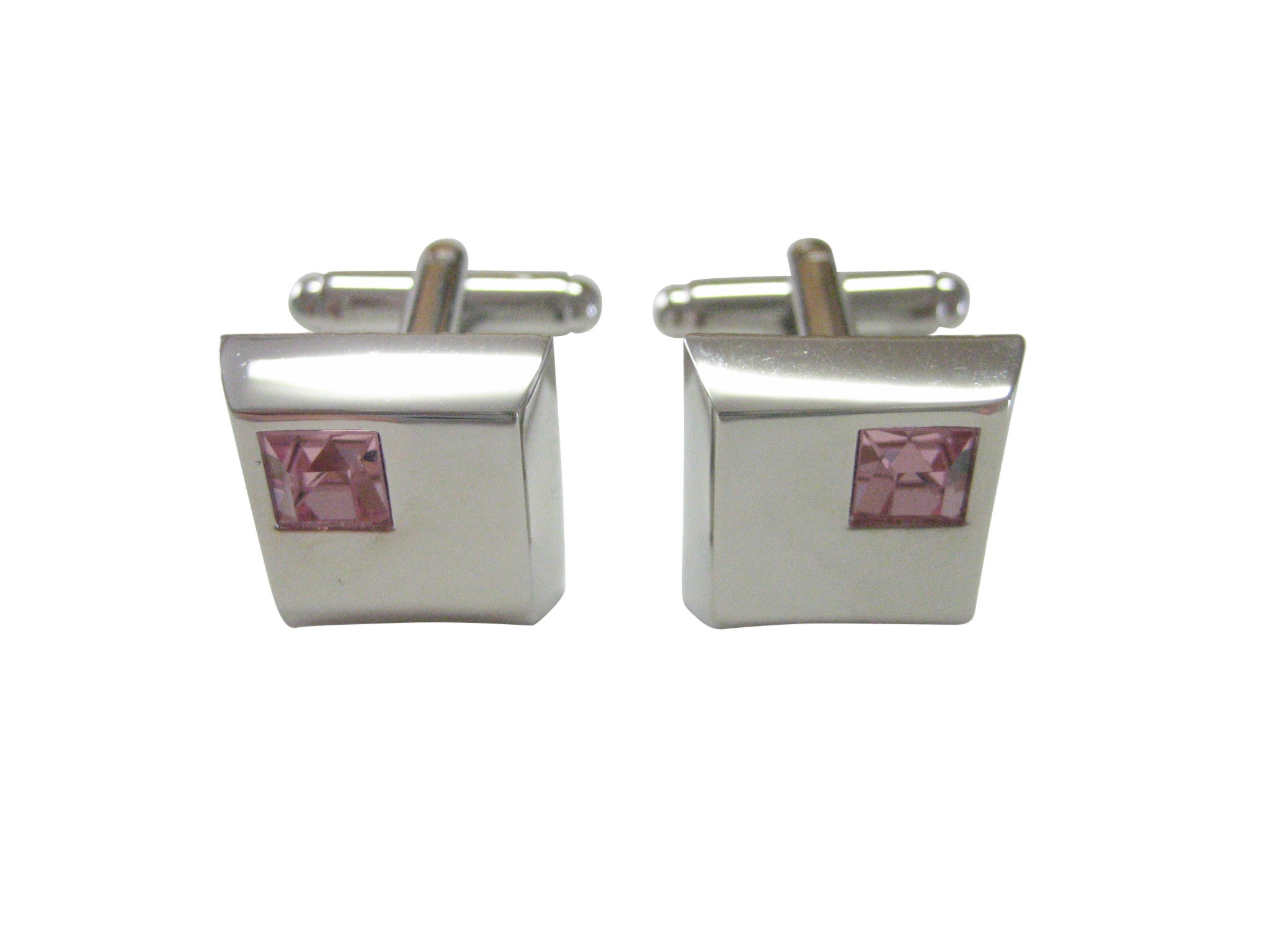 Square Cufflinks with Pink Crystal