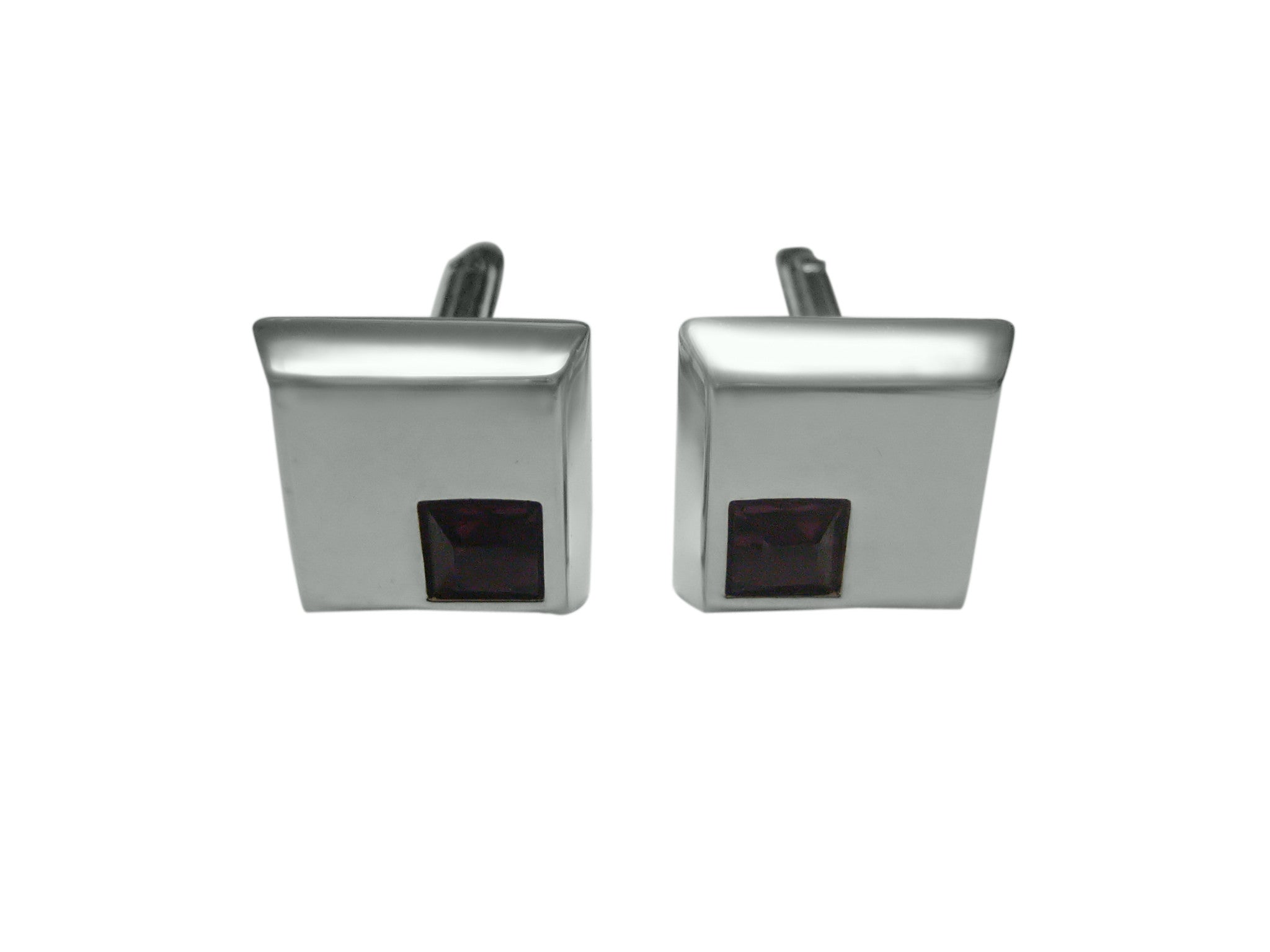 Square Cufflinks with Magenta Crystal