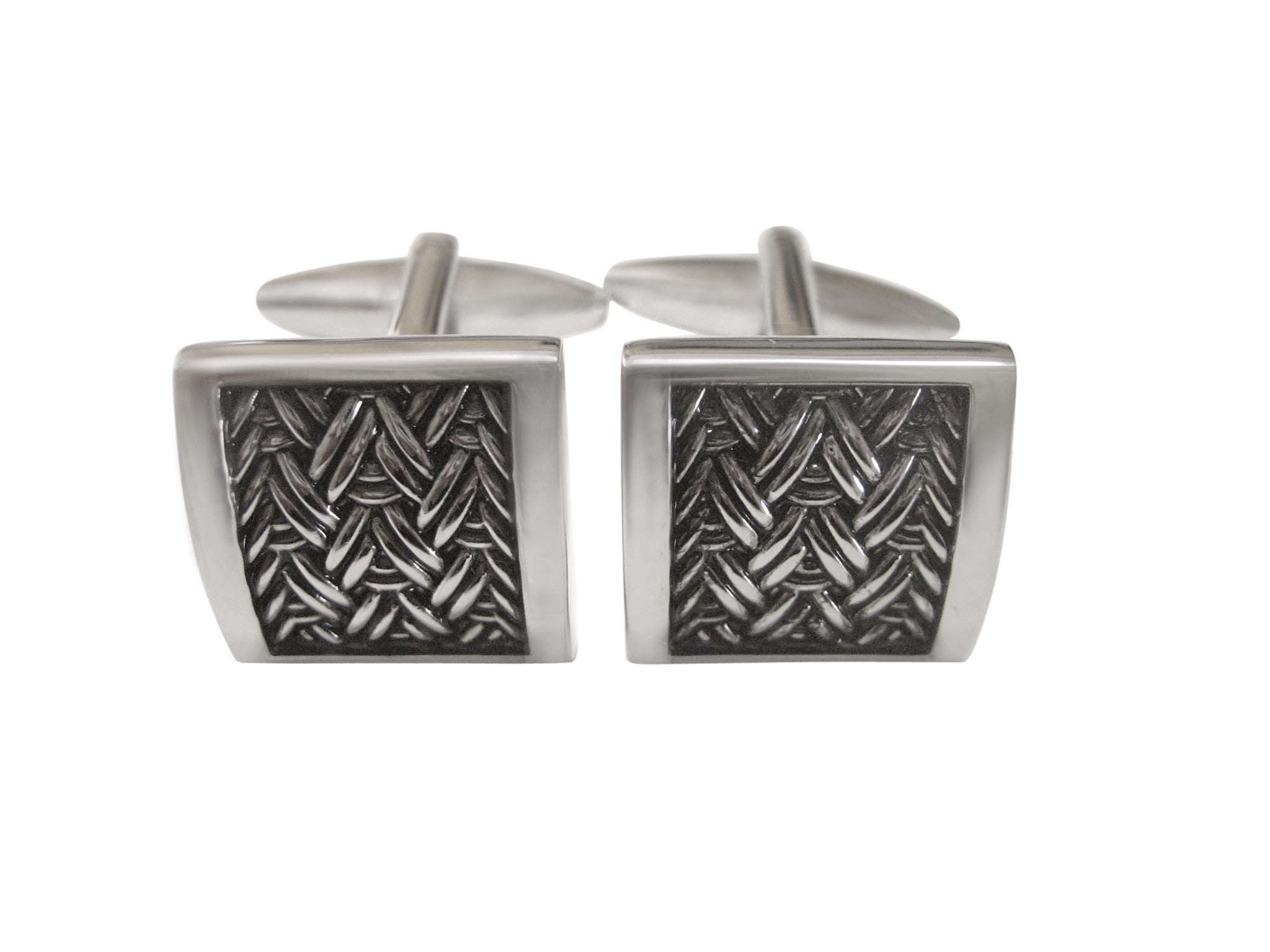 Square Metal Chevron Mesh Design Cufflinks