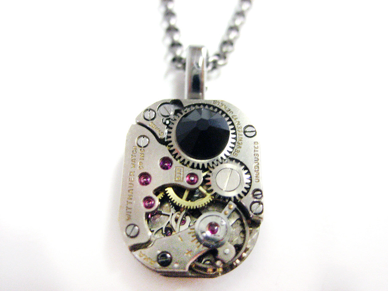 Square Steampunk Watch Gear Pendant Necklace with Black Swarovski Crystals
