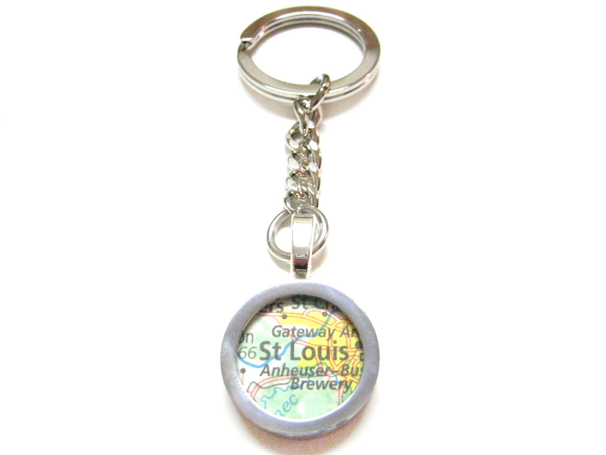 St. Louis Missouri Map Pendant Keychain