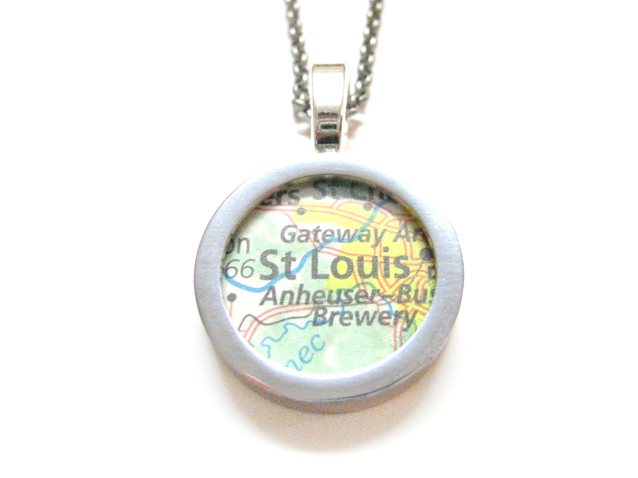 St. Louis Missouri Map Pendant Necklace