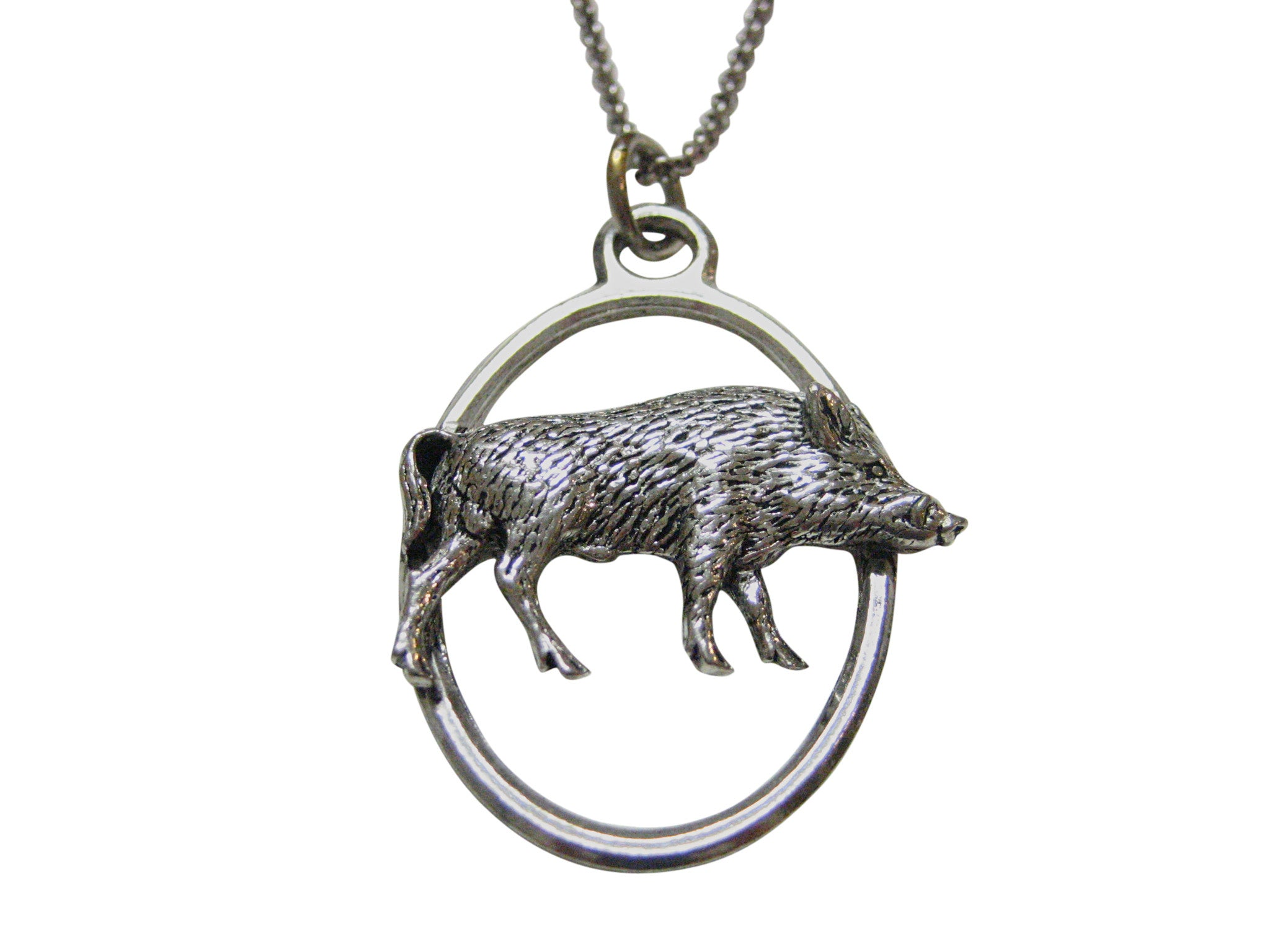 Standing Boar Large Oval Pendant Necklace