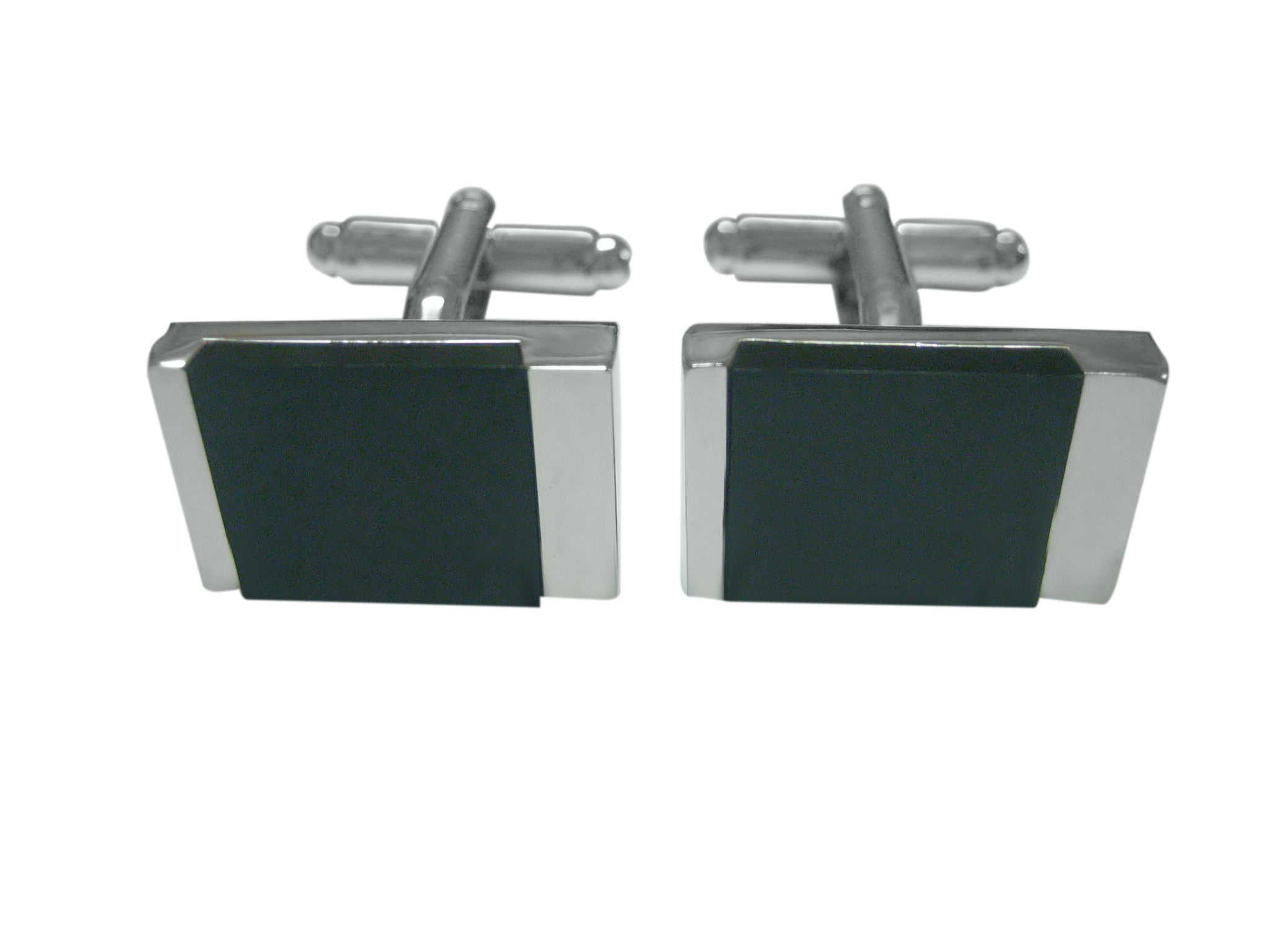 Stylish Black and Silver Square Cufflinks