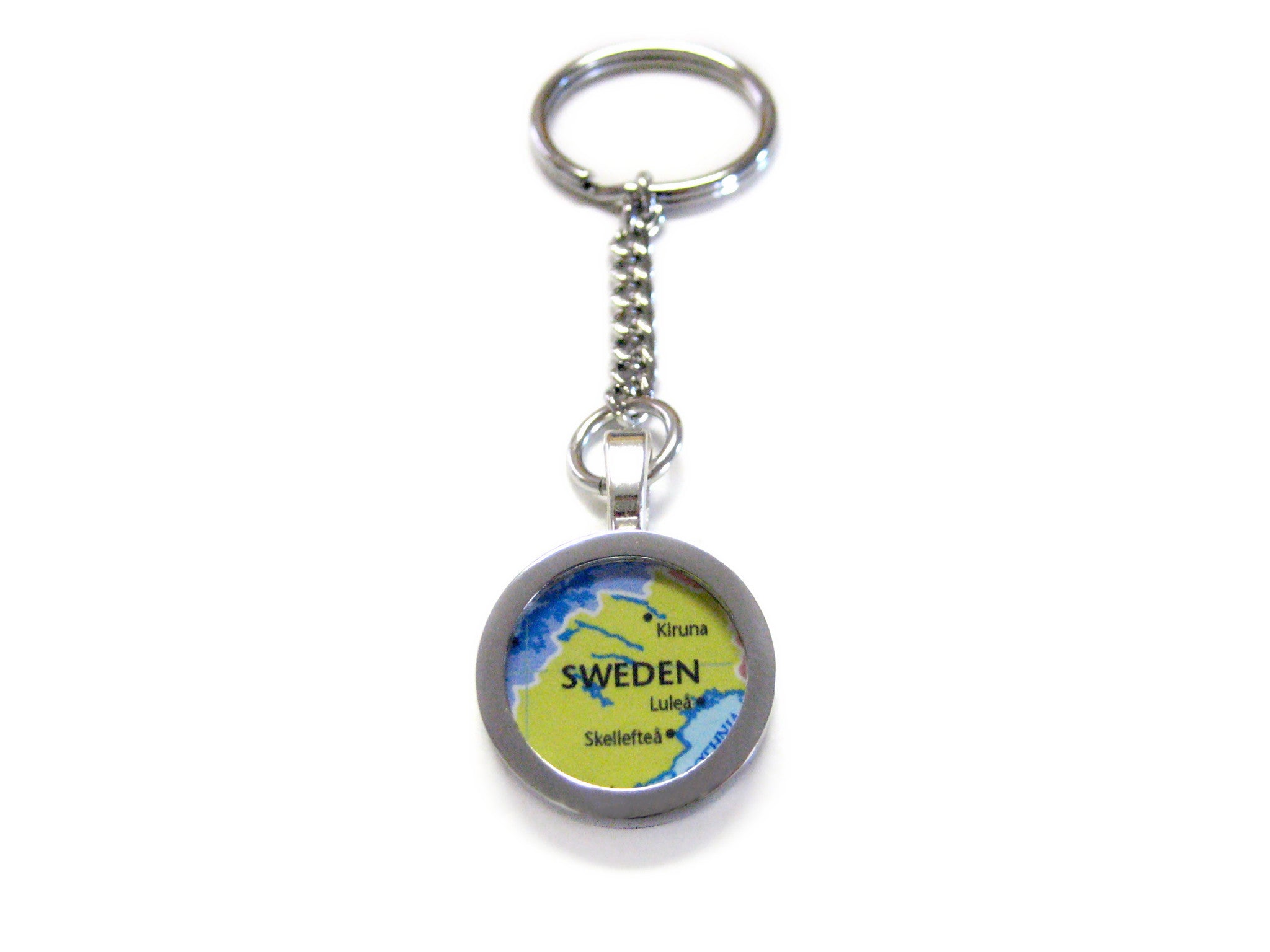 Sweden Map Pendant Keychain
