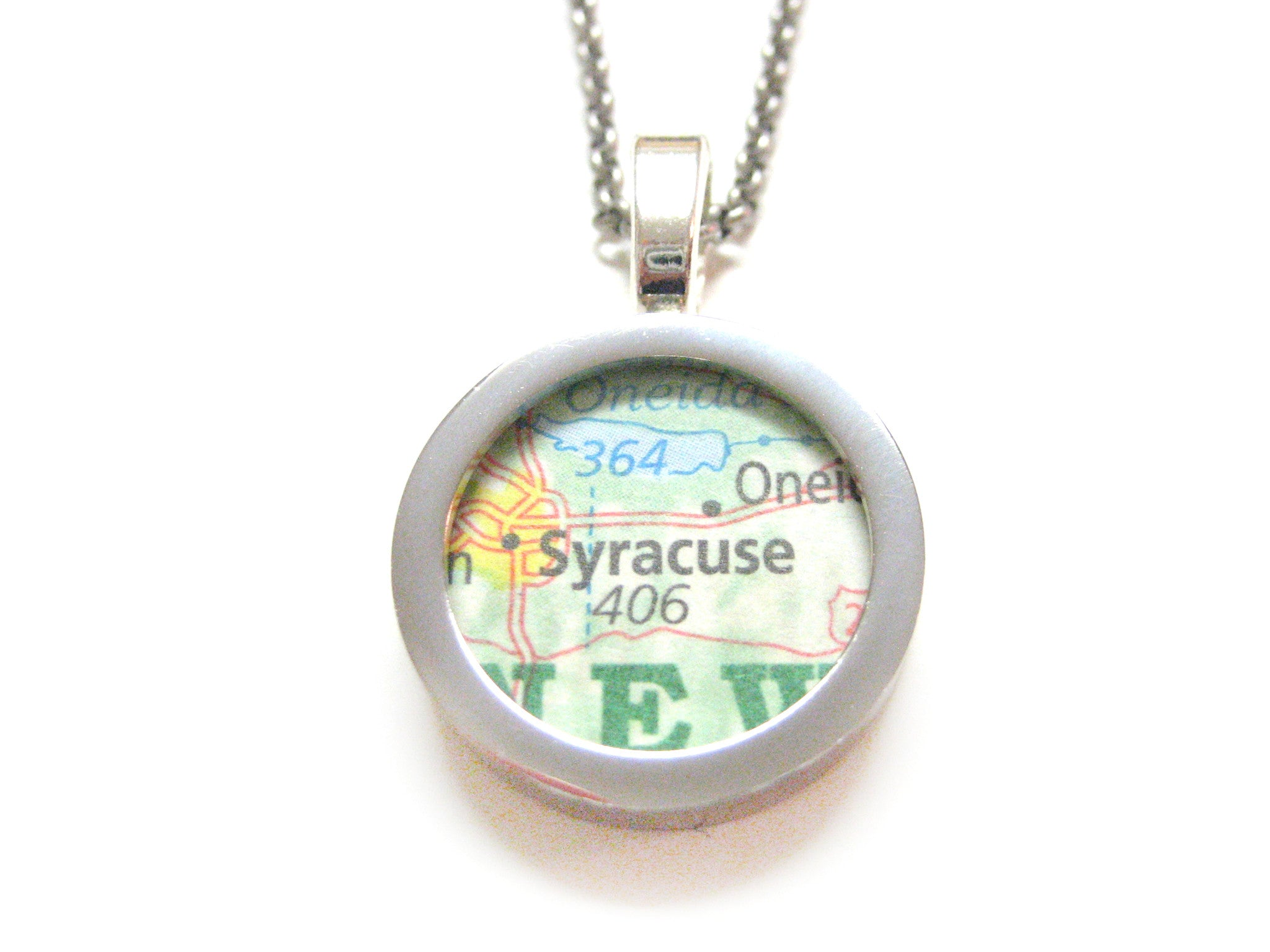 Syracuse New York Map Pendant Necklace