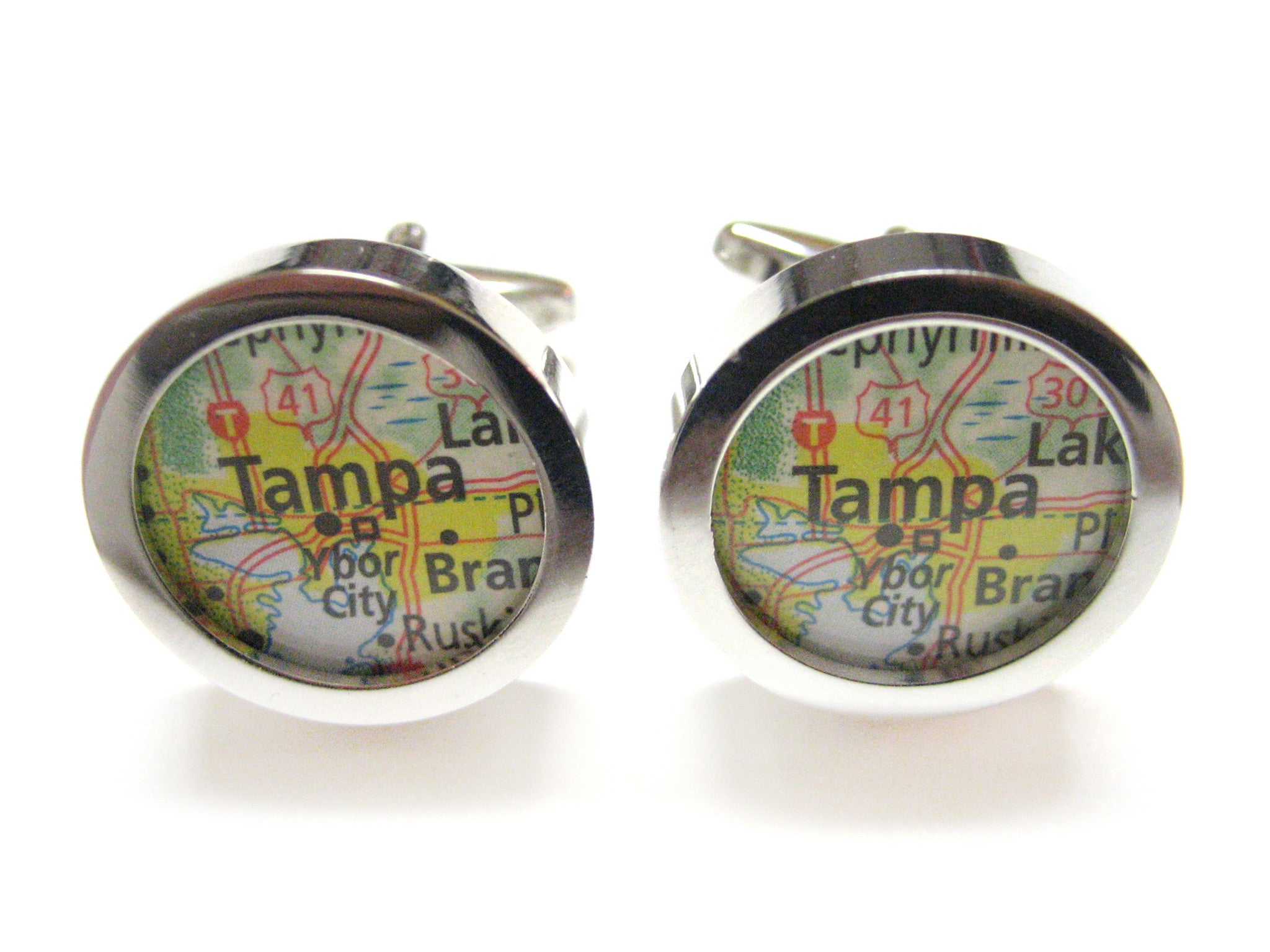 Tampa Florida Map Cufflinks