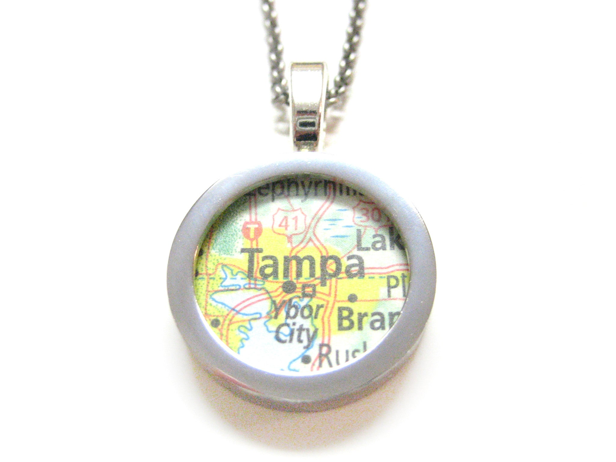 Tampa Florida Map Pendant Necklace