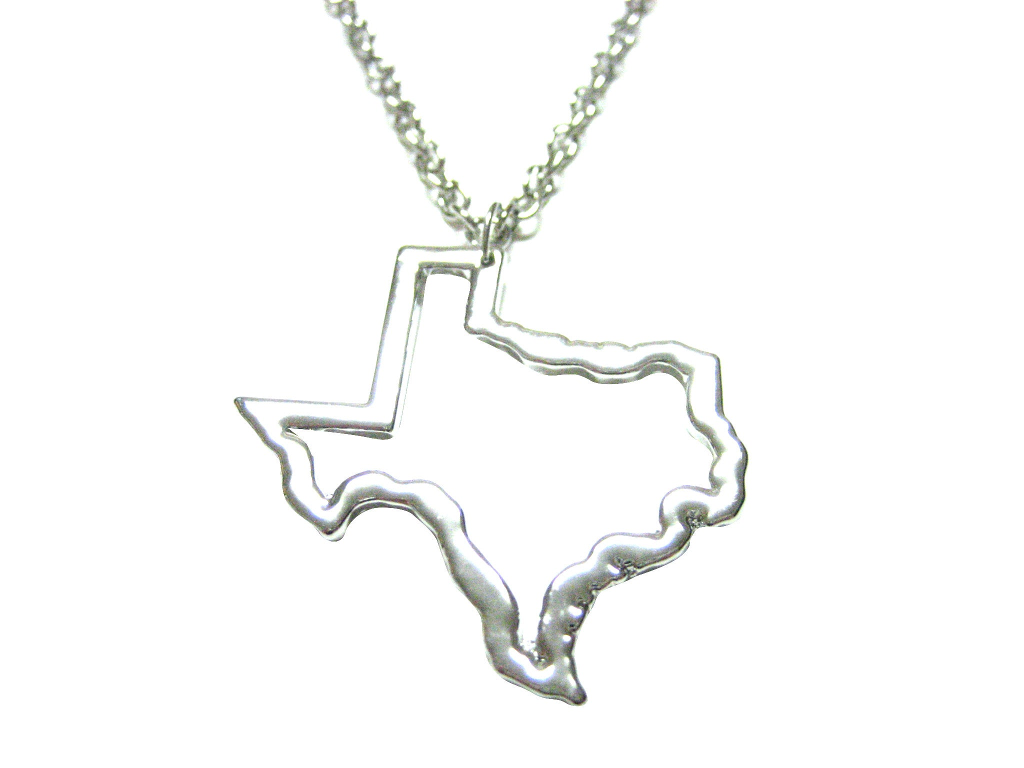 Silver Toned Texas State Map Outline Pendant Necklace