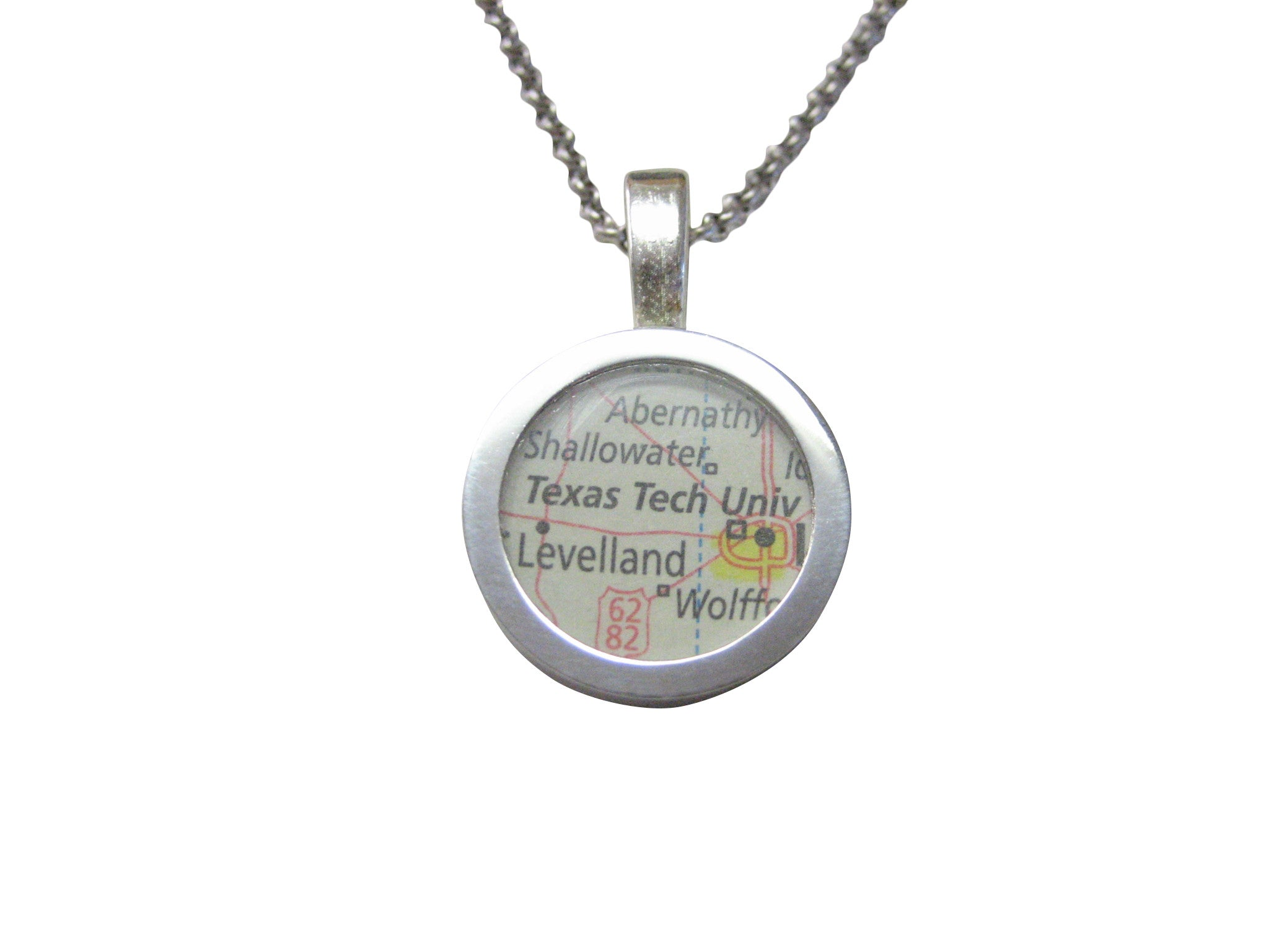 Texas Tech University Map Pendant Necklace
