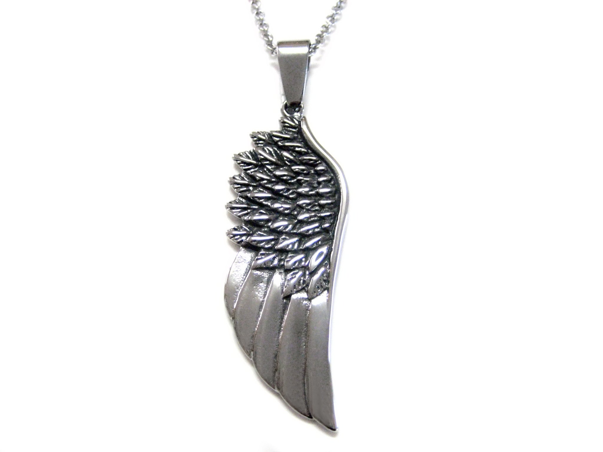 Textured Bird Feather Pendant Necklace