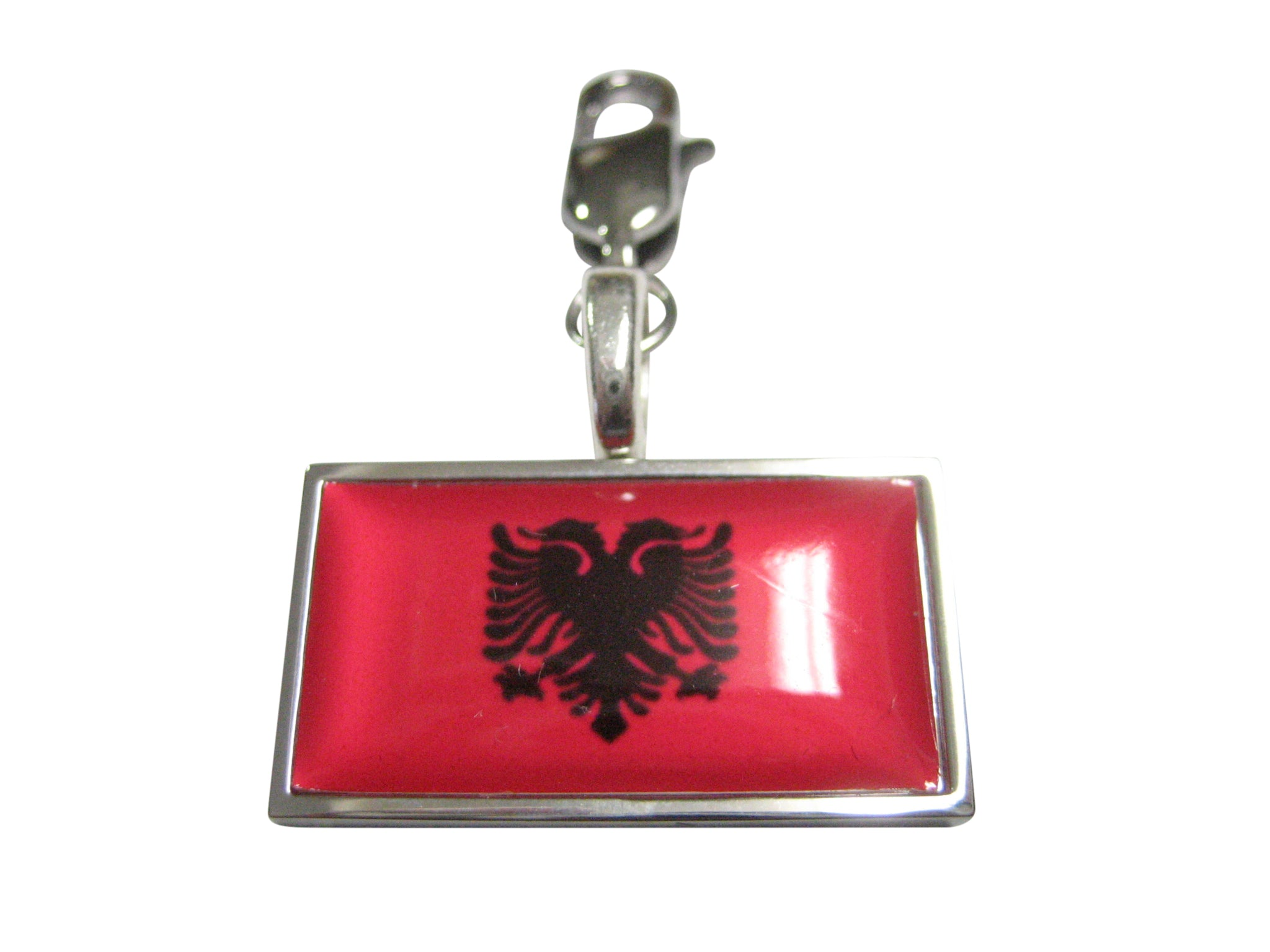 Thin Bordered Albania Flag Pendant Zipper Pull Charm