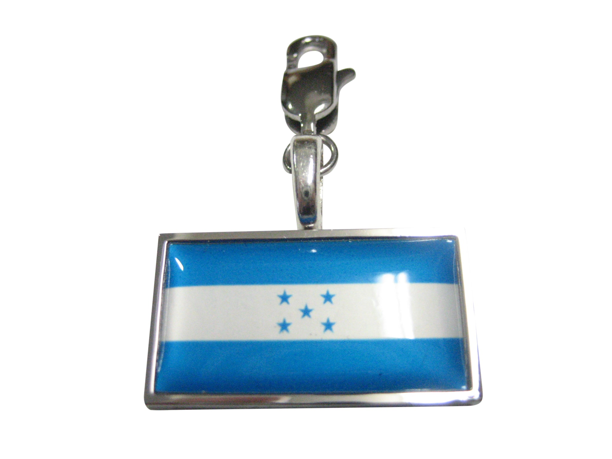 Thin Bordered Honduras Flag Pendant Zipper Pull Charm