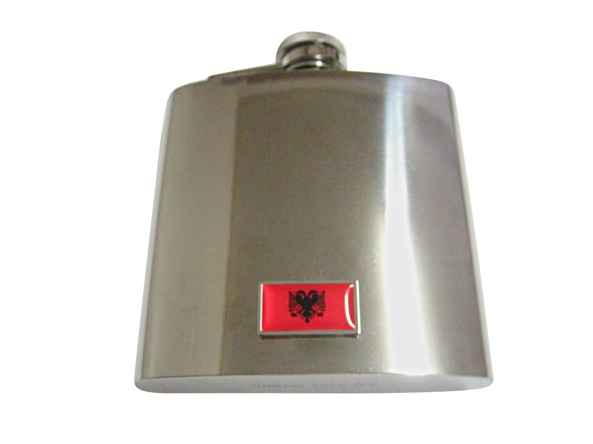 Thin Bordered Albania Flag 6 Oz. Stainless Steel Flask