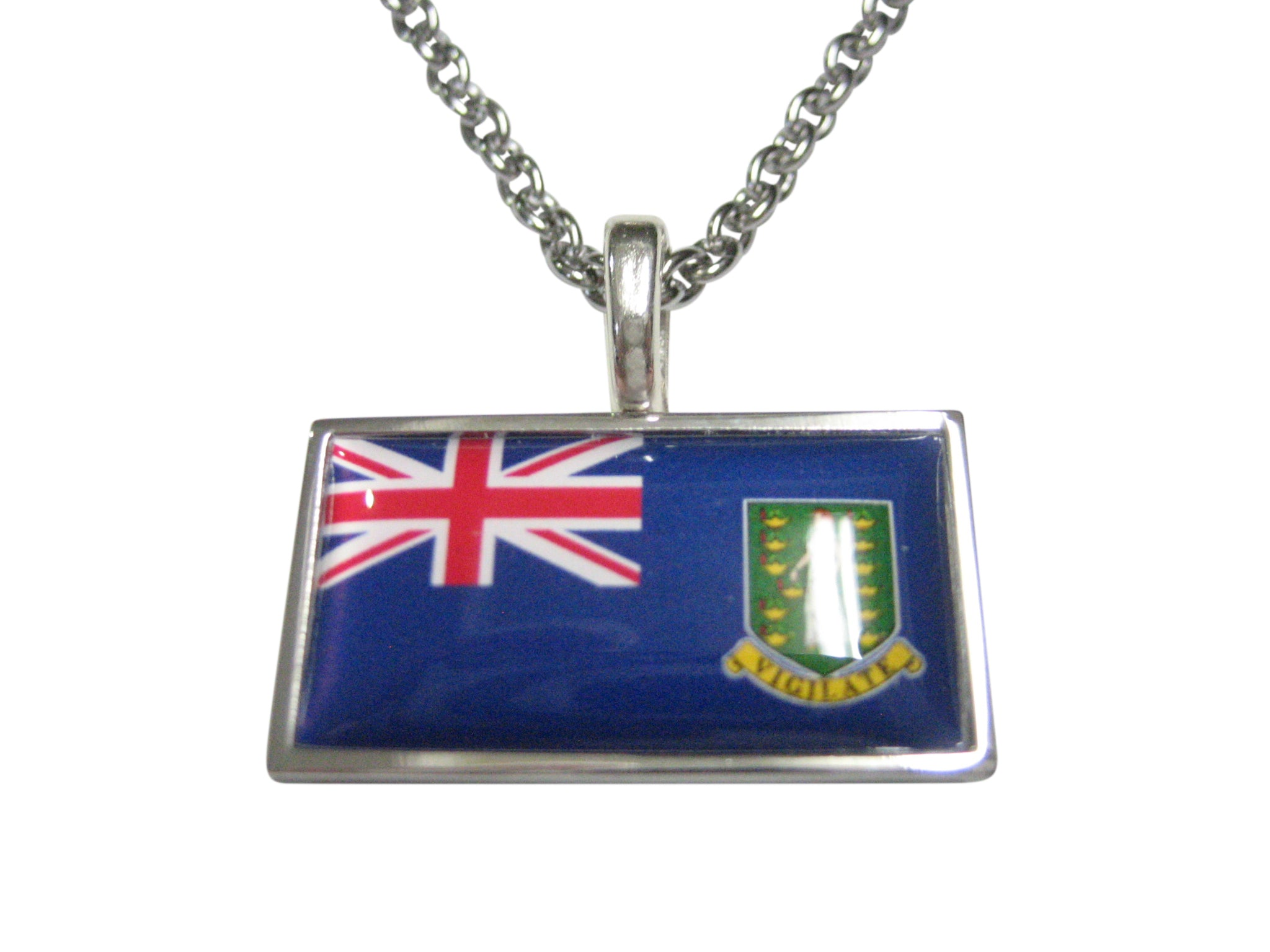Thin Bordered British Virgin Islands Flag Pendant Necklace