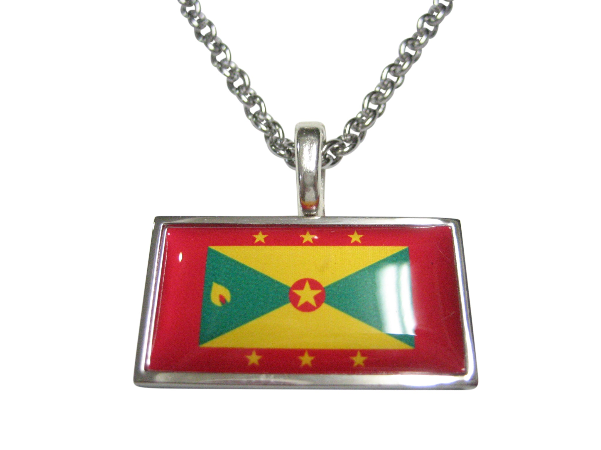 Thin Bordered Grenada Flag Pendant Necklace