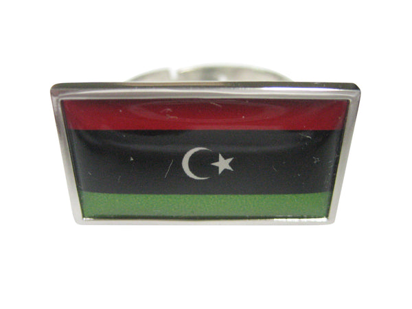 Thin Bordered Libya Flag Adjustable Size Fashion Ring