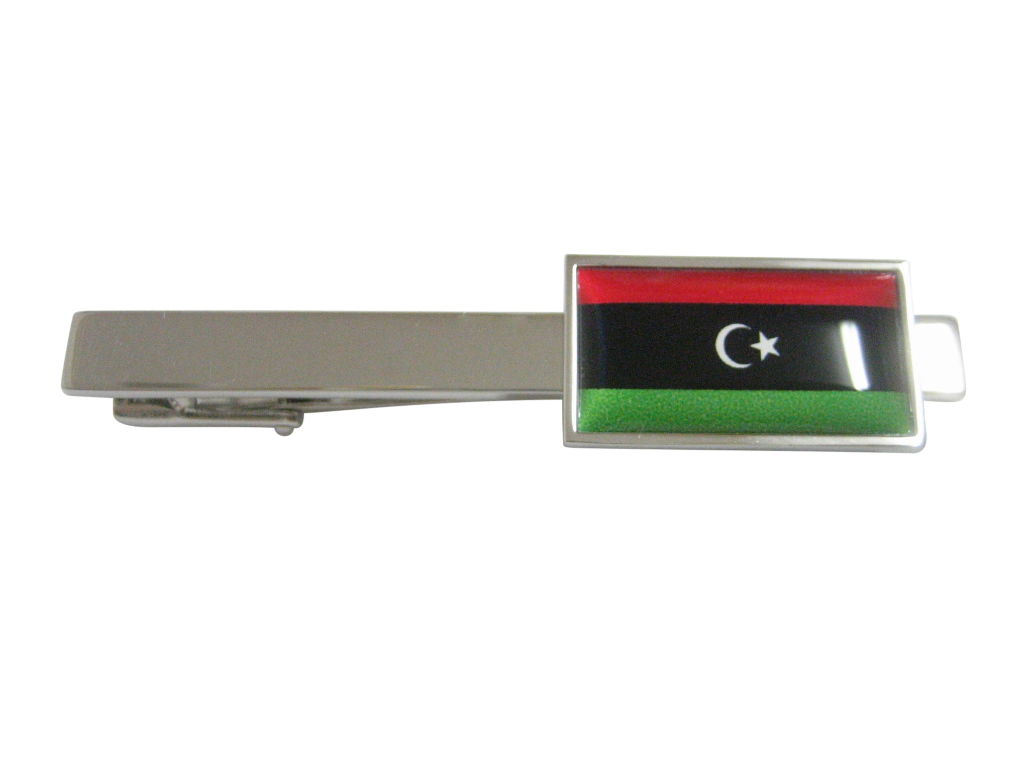 Thin Bordered Libya Flag Pendant Square Tie Clip