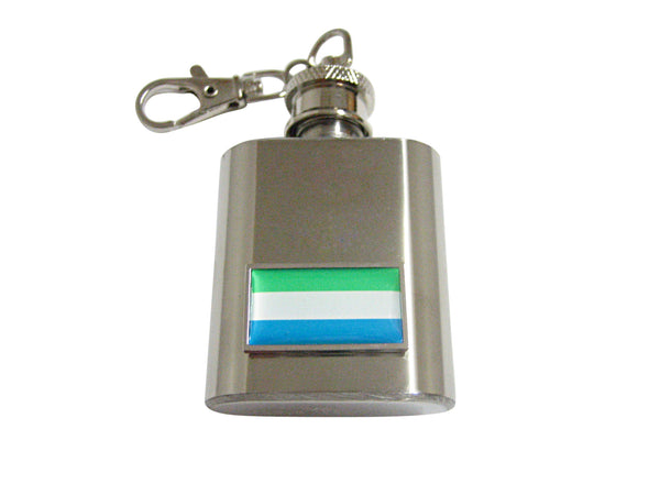 Thin Bordered Sierra Leone Flag Pendant 1 Oz. Stainless Steel Key Chain Flask